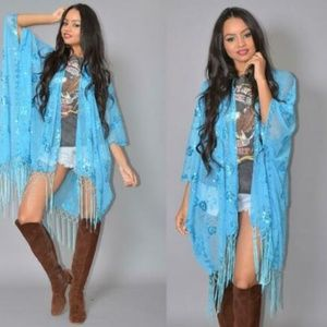 Sheer Turquoise Kimono Sequins Cocktail Party